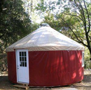 A red yurt